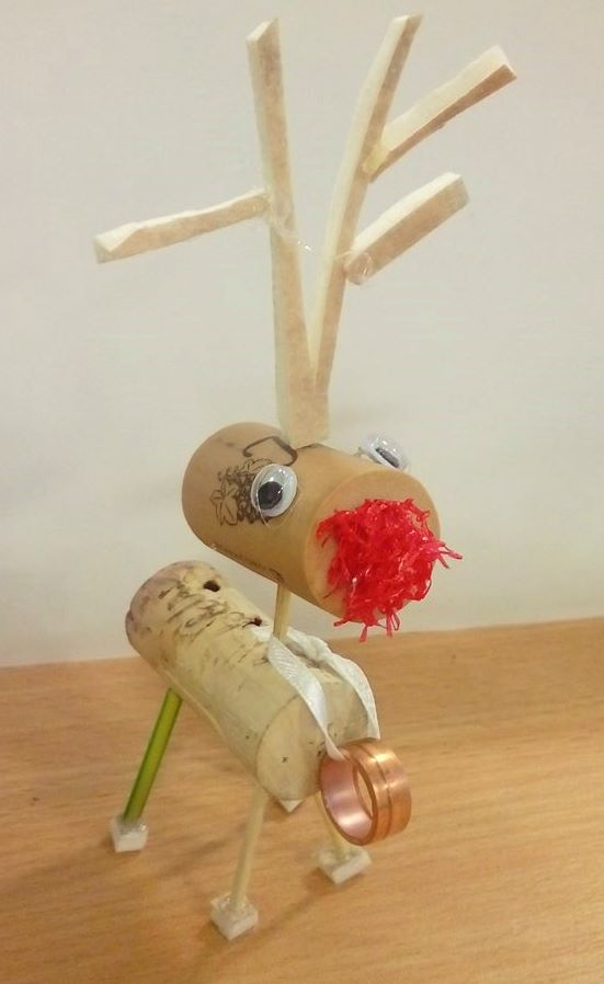 Upcycled cork reindeer