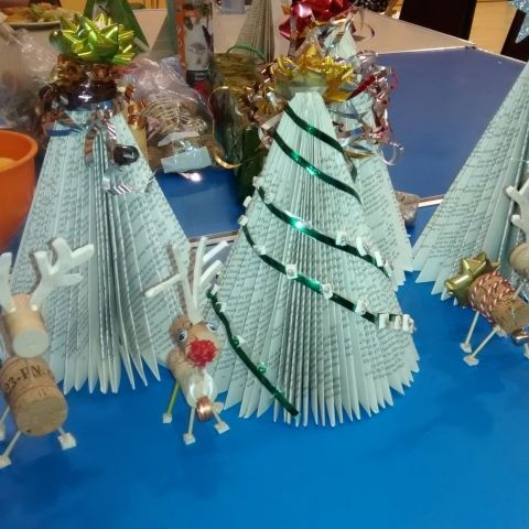 Chrsitmas trees made from old books and upcycled cork reindeers